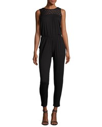 Three Dots Maureen Sleeveless Lace Yoke Jumpsuit Black