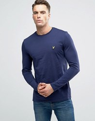 Lyle And Scott Long Sleeve Top Eagle Logo In Navy Navy
