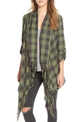 Billabong Women's 'Liv It Up' Plaid Fringe Kimono Moss