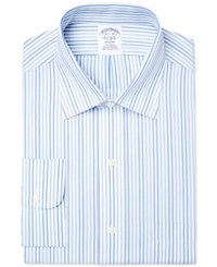 Brooks Brothers Men's Milano Extra Slim Fit Non Iron Blue Striped Dress Shirt