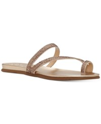 Vince Camuto Evina Jeweled Flat Sandals Women's Shoes Deep Champagne