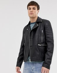 Barney's Originals Real Leather Quilted Zipped Biker Jacket Black