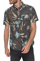 Quiksilver 'S Print Linen Blend Shirt Chocolate
