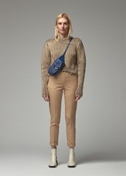 Chloe 'S Crew Neck Sweater In Obscure Brown Size Small Wool Mohair Polyamide