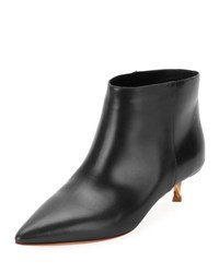 Valentino Leather Point Toe 40Mm Bootie Black