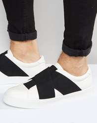 Asos Trainers In White With Cross Over Black Elastic White