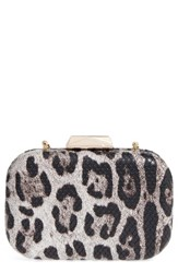 Natasha Couture Leopard Print Faux Leather Frame Clutch