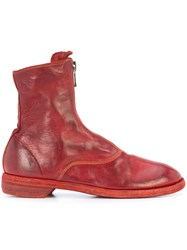 Guidi Zip Detail Boots Horse Leather Leather Red