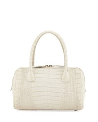 Nancy Gonzalez Crocodile Zip Satchel Bag Gray