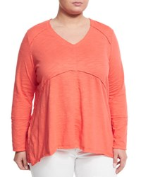Neon Buddha Plus Tambourine V Neck Relaxed Tee Orange Red