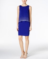 Jessica Howard Petite Popover Sequined Sheath Dress Royal
