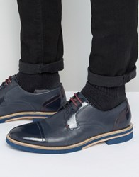Ted Baker Braythe 2 Derby Shoes In Navy Leather Blue