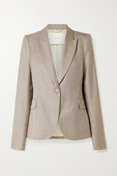 Adam By Adam Lippes Houndstooth Silk And Wool Blend Blazer Chocolate
