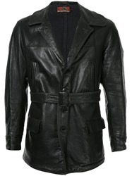 Fake Alpha Vintage 1930S Leather Car Coat Black