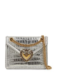 Dolce And Gabbana Devotion Croc Embossed Leather Bag Silver