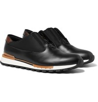 Berluti Fast Track Glazed Leather And Shell Sneakers Black