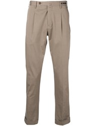 Pt01 Fitted Chino Trousers Neutrals