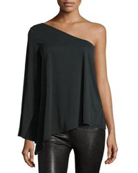 Casual Couture One Shoulder Bell Sleeve Top Charcoal