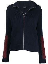 Paul Smith Ps Faux Fur Trimmed Jacket Blue