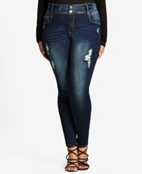 City Chic Trendy Plus Size Ripped Skinny Jeans Dark Denim