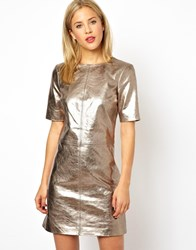 Asos Gold Leather T Shirt Dress Gold