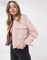 Bershka Canvas Jacket With Pocket Detail In Pink