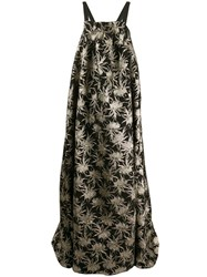 Rochas Floral Embroidered Evening Gown Black