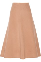 Theory Uthema Wool And Cashmere Blend Felt Midi Skirt Brown