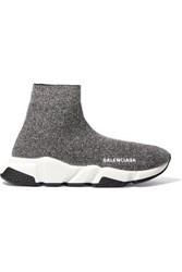 Balenciaga Speed Logo Print Metallic Stretch Knit High Top Sneakers Gray