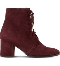 Dune Olita Suede Ankle Boots Burgundy Suede