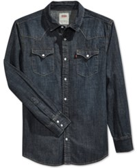 Levi's Men's Standard Barstow Western Long Sleeve Denim Shirt Indigo Ant