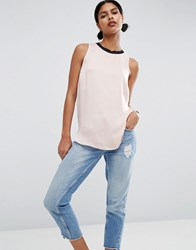 Asos Sleeveless Satin Top With Rib Neck Blush Pink