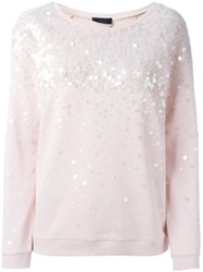 Twin Set Jeans Sequin Embellished Sweatshirt Pink And Purple
