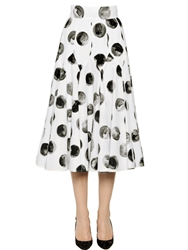 Dolce And Gabbana Polka Dot Cotton Poplin Midi Skirt Black White
