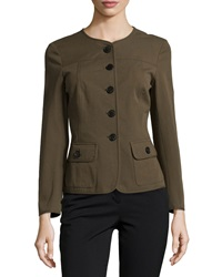 Lafayette 148 New York Winter Twill Bracelet Sleeve Jacket Loden