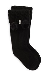 Uggr Women's Ugg Uggpure Tm Pompom Tall Rain Boot Sock Black Wool