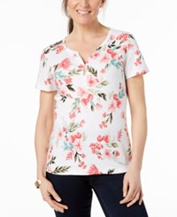 Karen Scott Petite Printed Henley Top Created For Macy's Bright White