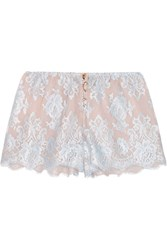 Rosamosario Sweet Sumatra Lace And Silk Chiffon Pajama Shorts Sky Blue