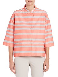 Piazza Sempione Striped Taffeta Jacket Coral