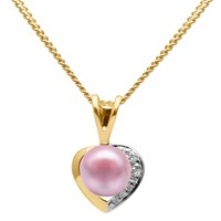 A B Davis 9Ct Gold Diamond And Freshwater Pearl Heart Pendant Necklace Pink