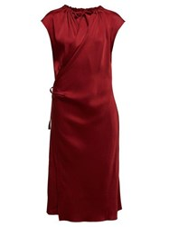 Joseph Burgess Satin Crepe Wrap Midi Dress Burgundy