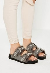 Missguided Grey Faux Fur Lining Slider Sandals