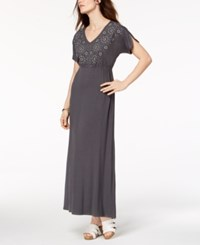 Styleandco. Style Co Embroidered Maxi Dress Created For Macy's Eyelit Grey