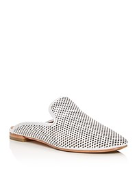 Frye Gwen Perforated Leather Mules White