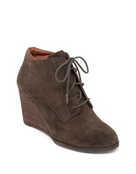 Lucky Brand Sumba Suede Ankle Booties Dark Green