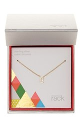 Nordstrom Rack Gold Plated Sterling Silver Pave Cz 'B' Initial Pendant Necklace Metallic