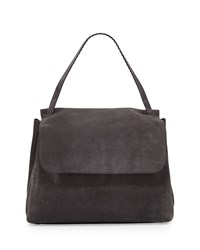 Top Handle 14 Suede Satchel Bag Pewter Pewter Pld The Row