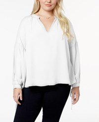 Say What Trendy Plus Size V Neck Blouse Ivory