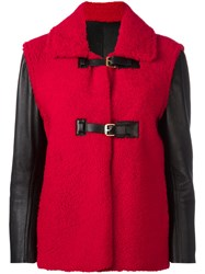 Louis Vuitton Vintage Buckled Shearling Jacket Red