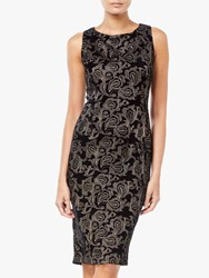 Adrianna Papell Embroidered Sheath Dress Black Champagne